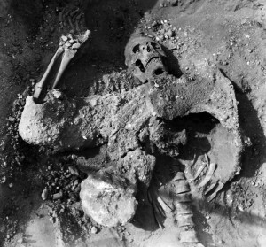 The remains of the lone Persian soldier who died in the tunnel, overcome by the gas.