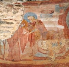 Fresco showing Mary's trial by water, from the Church of Santa Maria fores portas, in Castelseprio, Italy. From the 7th-9th centuries AD.
