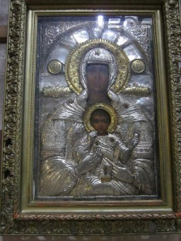 Icon of Mary and child. In the Church of the Holy Sepulchre, Jerusalem.