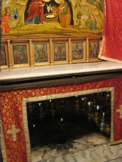 The Grotto of the Nativity under the Church of the Nativity in Bethlehem, the spot where Jesus was born.