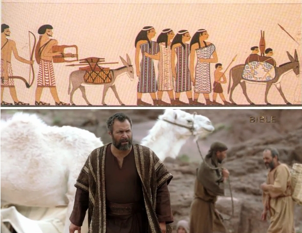 Bottom: Abraham from The Bible TV series. Top: Wall painting of Semitic Middle Bronze Age nomads from Beni Hasan, Egypt.