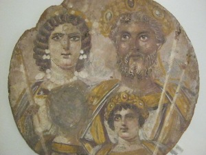 Our only family portrait of a Roman emperor shows Septimius Severus, Julia Domna and their sons Caracalla and Geta. When Caracalla had his brother murdered, he erased his face from the painting. In the Altes Museum in Berlin.