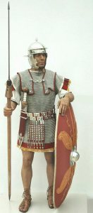 Roman legionnaire showing tight-fitting helmet, chain mail armor and oblong shield.