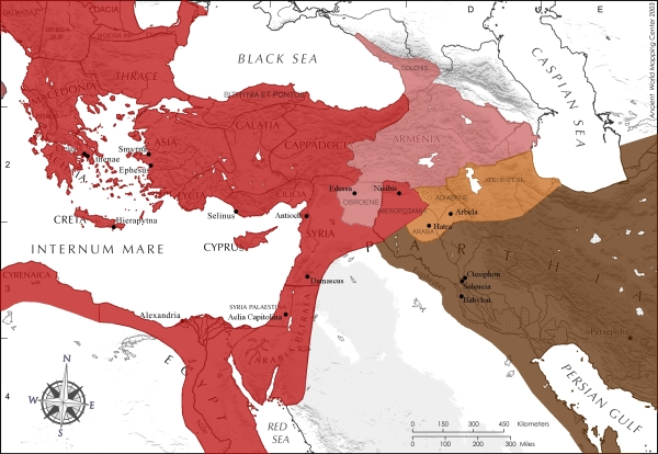 The Roman-Parthian face-off in the Near East. Roman provinces are in red and Roman client kingdoms in pink. Parthian territory is in brown and Parthian client kingdoms in orange.