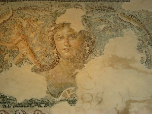 A mosaic of Tyche, goddess of chance from a Jewish home in 3rd century Sepphoris. Africanus mentioned Tyche in the Kestoi, but only as a metaphor for chance acts which could benefit or hurt an army at war.