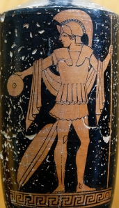 Classical Greek depiction of a hoplite in armor.