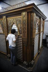 The tomb of Jonah inside the shrine at Nebi Yunus.