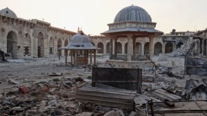 Damage to the Umayyad period Grand Mosque of Aleppo. Source.