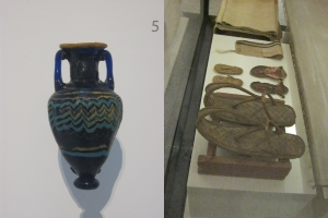 Left: Egyptian glass perfume bottle, 6th-5th centuries BC. From the North Carolina Museum of Art. Right: A selection of ancient Egyptian sandals, c. 1540-840. From the Neuesmuseum in Berlin.