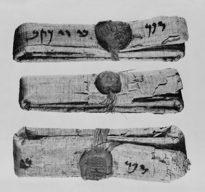 Several papyri from the Jehoishma archive as they were found, before they were opened.