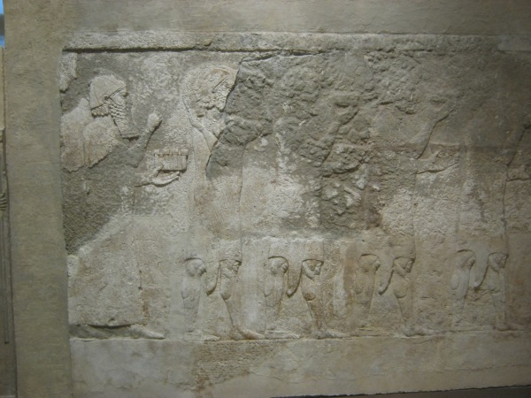 Relief from Dur-Sharrukin in the Oriental Institute, University of Chicago showing a similar scene. Photo by Author.