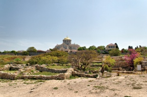 The ruins of ancient Chersonesus are dominated by St. Vladimir's Cathedral, built over the site of Vladimir of Kiev's baptism.