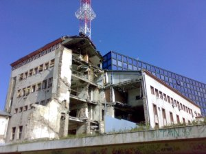 The gutted RTS studio in Belgrade. (source)
