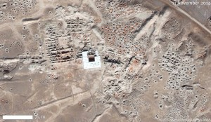 Satellite photograph showing industrialized looting at Mari, November 11, 2014. Digital Globe/U.S. Department of State (source)