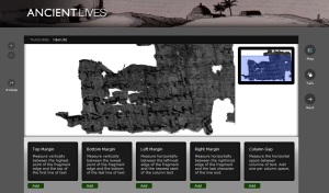 The interface for Oxford University's Ancient Lives project crowdsourcing the transcription of papyri.