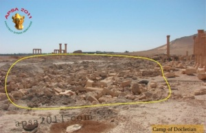 "Damage done to the Camp of Diocletian at Palmyra by Syrian government forces during the construction of fighting positions between 2012-2015. (From ""Palmyra: Heritage Adrift"" p. 38)"