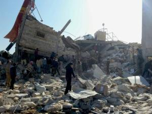 Rubble of a Doctors Without Borders hospital hit by an airstrike in Ma'aarat al-Numan, Idlib Province. (source)