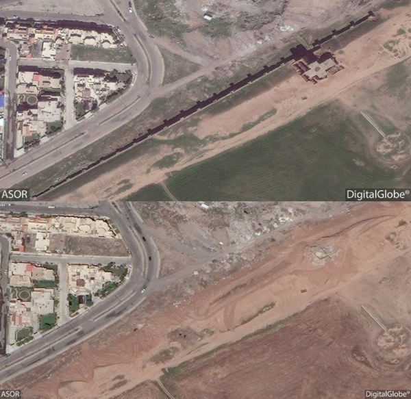 Top: Satellite photo obtained by ASOR on April 1, 2016 showing the Adad Gate and reconstructed city wall intact. Bottom: Photo dated May 2, 2016 showing the Adad Gate and city wall have been completely razed and the land cleared.