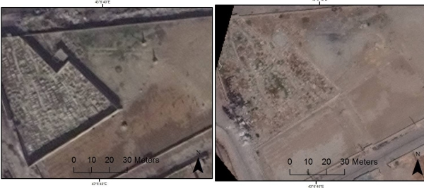 Left: Satellite photograph dated November 2013 of the Mosul War Cemetery. Right: Photo dated August 2015 showing destruction of the cemetery and adjoining cemeteries.