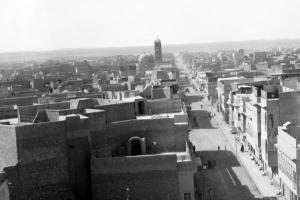 The Clock Church towers over Mosul's Al-Sa'a neighborhood in this 1932 photo (Library of Congress)
