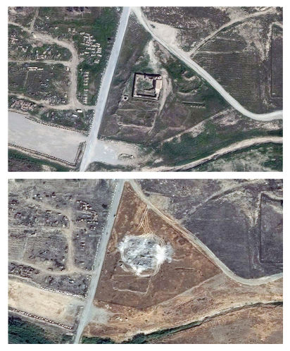 Top: Satellite photo dated March 31, 2011 showing Dair Mar Elia. Bottom: Satellite photo dated September 28, 2014 showing the monastery had been razed to the ground. (AP/Digital Globe)