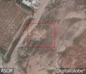 Satellite photograph obtained by ASOR showing evidence of tunneling in Nineveh. (source)