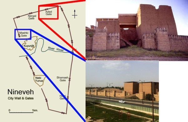 Map showing the locations of the Adad and Mashki gates within Nineveh.