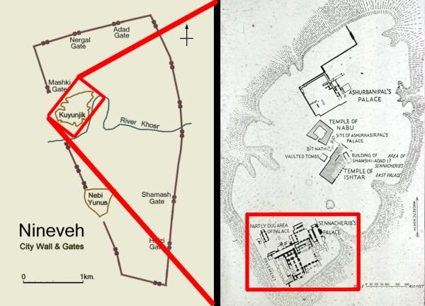 Map showing Kuyunjik's location within Nineveh and the Southwest Palace at Kuyunjik. (Wikimedia/UNC)