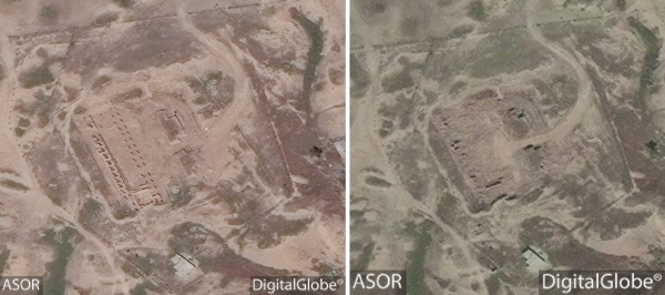 Left: Image taken by Digital Globe/ASOR on May 2, 2016 showing the Southwest Palace missing its roof but with reliefs still in place. Right: Image taken by Digital Globe/ASOR on May 9, 2016 showing the reliefs are gone and most internal walls have been destroyed.