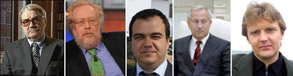 From left to right: Vassily Mitrokhin, Paolo Guzzanti, Mario Scaramella, Oleg Gordievsky, Alexander Litvinenko. (all pictures from Wikimedia Commons).