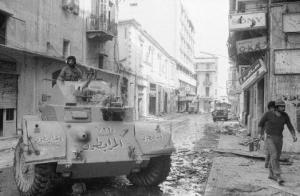 Armored vehicles in the streets of Beirut, 1976. (source)