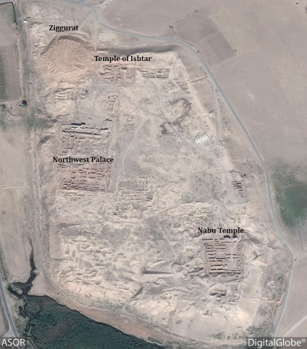 October 16, 2016 satellite photo showing destruction of Nimrud's ziggurat. (source)