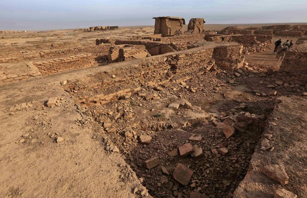 Temple of Nabu looking towards the Fish Gate. (Safin Hamed/AFP)