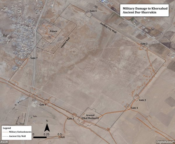 ASOR satellite imagery showing damage to the ancient site of Khorsabad. (source)
