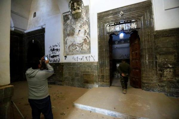 Where the relief of Mar Behnam once stood inside the monastery, November 21, 2016. Reuters/Thaier Al-Sudani