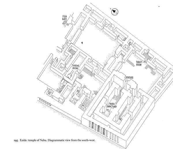 Isometric reconstruction of the Temple of Nabu. From Mallowan, Nimrud and its Remains, vol. 1, p. 232-233.